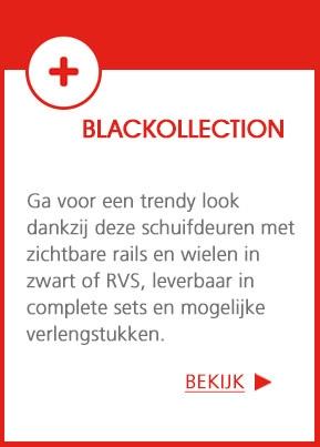 Blanckollection - Een trendy look dankzij deze schuifdeuren met zichtbare rails en wielen in zwart