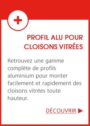 Profils aluminium pour cloisons verre
